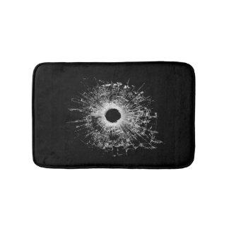 Gun Bullet Broken Glass Modern Black Bath Mat Bath Mats