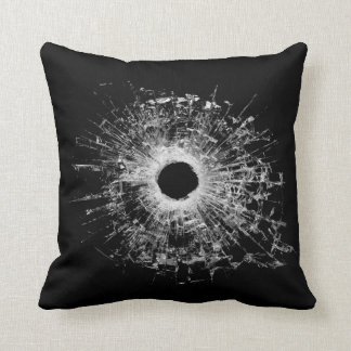 Gun Bullet Broken Glass Modern Style Black Pillow