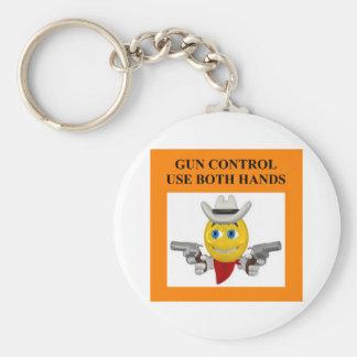 gun control joke keychain
