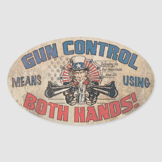 Gun Control Means Both Hands Oval Sticker