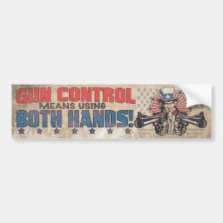 Gun Control Means Two Hands Retro Bumper Sticker