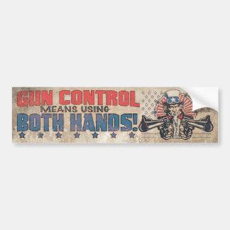 Gun Control Means Two Hands Retro Bumper Sticker