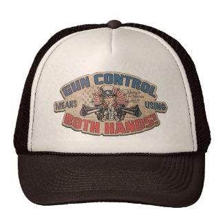 Gun Control Means Two Hands Retro Trucker Hats