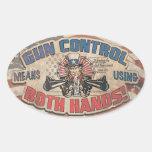 Gun Control Means Two Hands Retro Oval Sticker