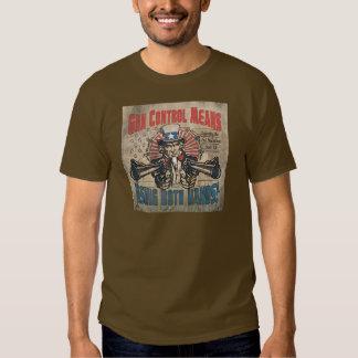Gun Control Means Two Hands Retro Shirts