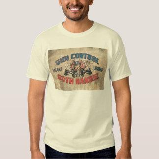 Gun Control Means Two Hands Retro T Shirt