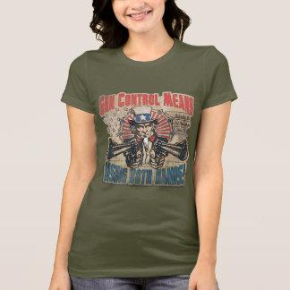 Gun Control Means Two Hands Retro T-Shirt