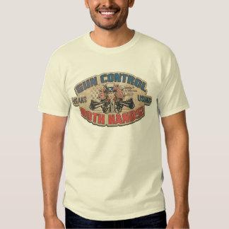 Gun Control Means Two Hands Retro Tee Shirt