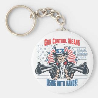 Gun Control Means Using Both Hands Pro Gun Gear Basic Round Button Keychain