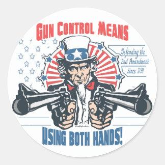 Gun Control Means Using Both Hands Pro Gun Gear Round Stickers