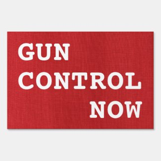 Gun Control Now on Red Linen Photo Political Lawn Sign