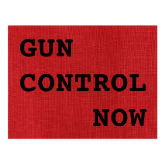 Gun Control Now on Red Linen Texture Photo Postcard