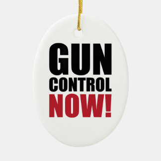 Gun control now Double-Sided oval ceramic christmas ornament