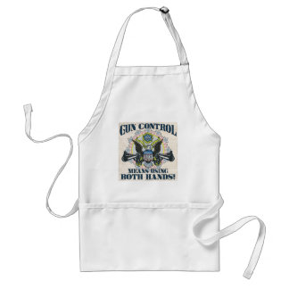 Gun Control: Using Both Hands Gun-Toting Eagle Adult Apron