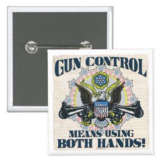 Gun Control: Using Both Hands Gun-Toting Eagle Pin
