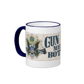 Gun Control: Using Both Hands Gun-Toting Eagle Ringer Mug