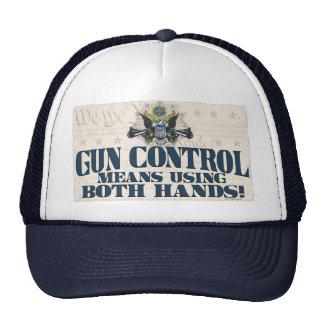 Gun Control: Using Both Hands Gun-Toting Eagle Trucker Hat