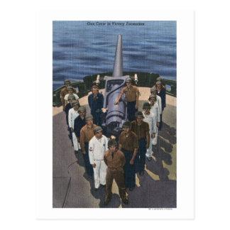Gun Crew in Victory Formation - US Navy Postcard