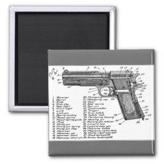Gun Diagram 2 Inch Square Magnet
