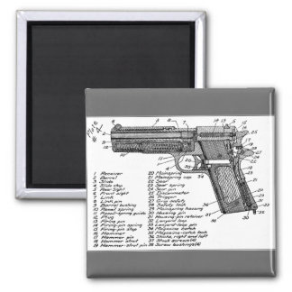Gun Diagram 2 Inch Square Magnet