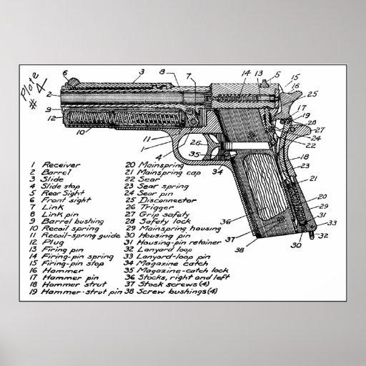 revolver diagram gun lincoln spool gun wiring diagram gun diagram poster | zazzle #6