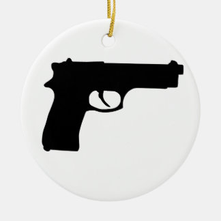 Gun Double-Sided Ceramic Round Christmas Ornament