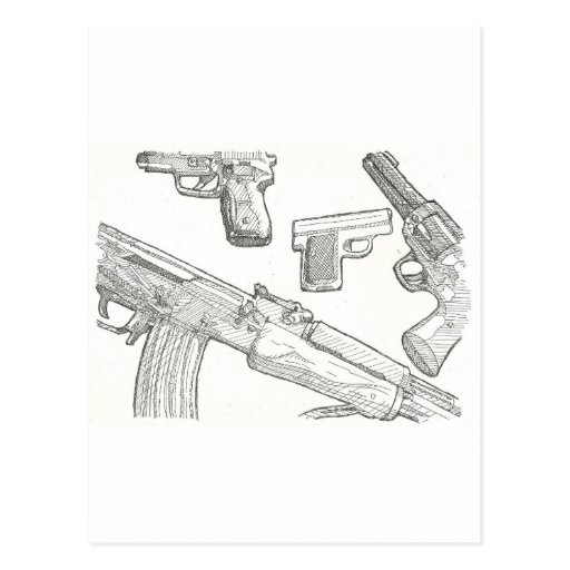 Gun drawing series postcard