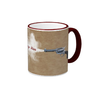 Gun Fight at the Coffee House Ringer Coffee Mug