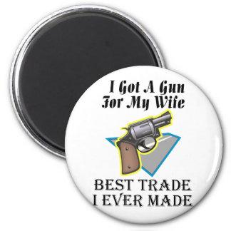 Gun for Wife 2 Inch Round Magnet