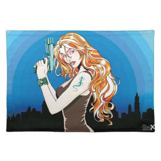 Gun Girl Orange Cloth Placemat