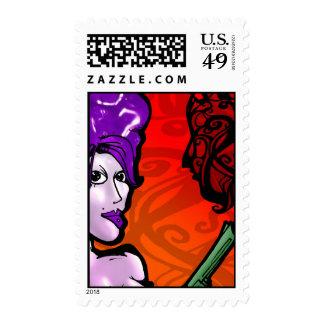 Gun Girl-red Stamps