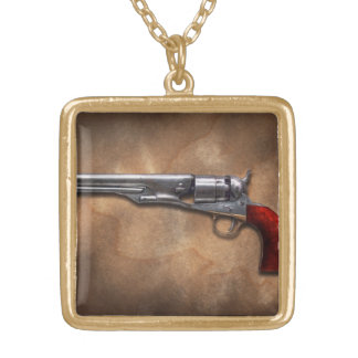 Gun - Model 1860 Army Revolver Gold Plated Necklace