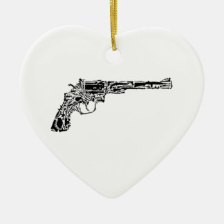 Gun of Guns Double-Sided Heart Ceramic Christmas Ornament