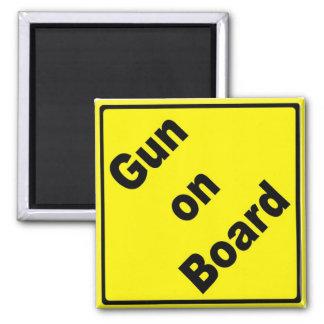 Gun on Board 2 Inch Square Magnet