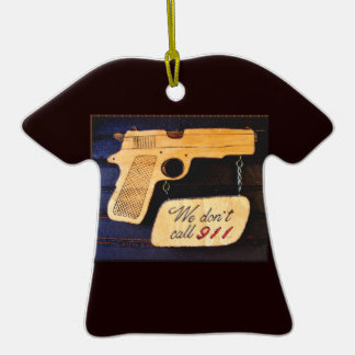 Gun Double-Sided T-Shirt Ceramic Christmas Ornament