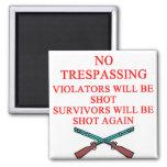 gun owner no trespassing 2 inch square magnet