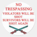 gun owner no trespassing classic round sticker