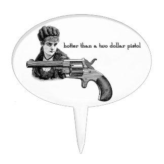 """Gun Pistol and Girl """"Hotter Than two Dollar Pistol Cake Topper"""
