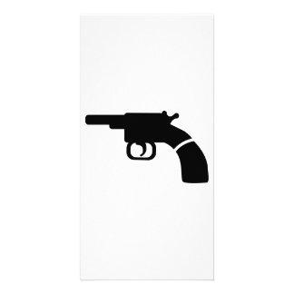 Gun revolver photo card template