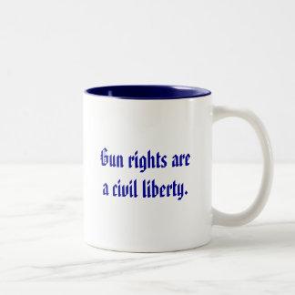 Gun rights are a civil liberty. Two-Tone coffee mug