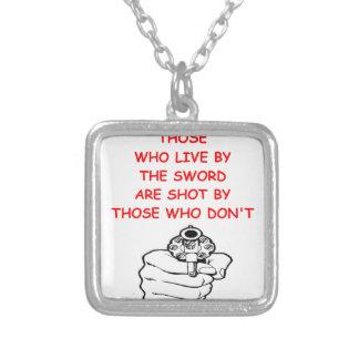 gun rights square pendant necklace