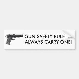 GUN SAFETY MEANS ALWAYS CARRY ONE! BUMPER STICKER
