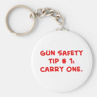 gun safety tip #1 basic round button keychain