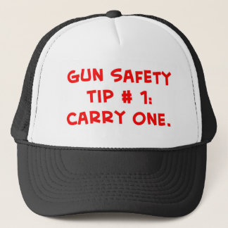 gun safety tip #1 trucker hat