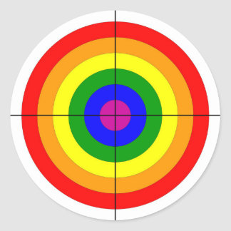 gun shooting range bulls eye target symbol gay classic round sticker