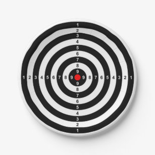 gun shooting range bulls eye target symbol paper plate  sc 1 st  Zazzle & Gun Target Plates | Zazzle