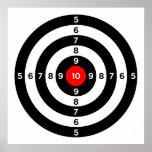 gun shooting range bulls eye target symbol poster
