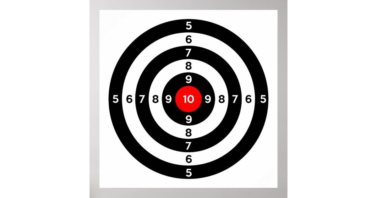 Gun Shooting Range Bulls Eye Target Symbol Poster Zazzle Com