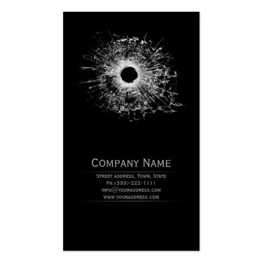 Gun Shop Broken Glass Black Business Card
