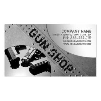 Gun Shop Metal Background Business Card
